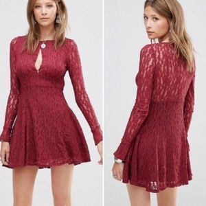 Free people burgundy teen witch lace dress